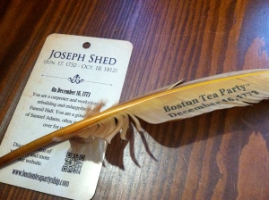 Joseph Shed handbill and feather