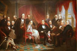"""Washington Irving and His Literary Friends at Sunnyside."" Simms stands, leaning against the chair, center left."