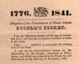 "The ""People's Ticket,"" with a direct reference to 1776, served as a connection between the American and Dorr Rebellions."