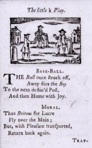 Base-Ball, image from A Little Pretty Pocket-Book 1744)