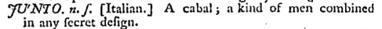 Junto in Johnson's Dictionary, 2e (1755)