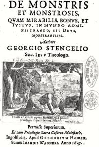 Figure 2: Title Page of Stengel's Des Monstris et Monstrosis (1647). Accessed via Google Books.