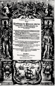 Figure 3: Title page of Theodore de Bry's Dreyzehender Theil Americae (1628). Accessed via archive.org.