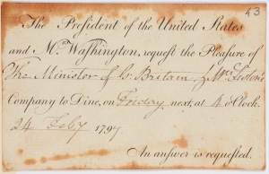 Invitation from the President of the United States to Robert and Henrietta Liston, 1797 (NLS shelfmark: MS.5590 f. 43)