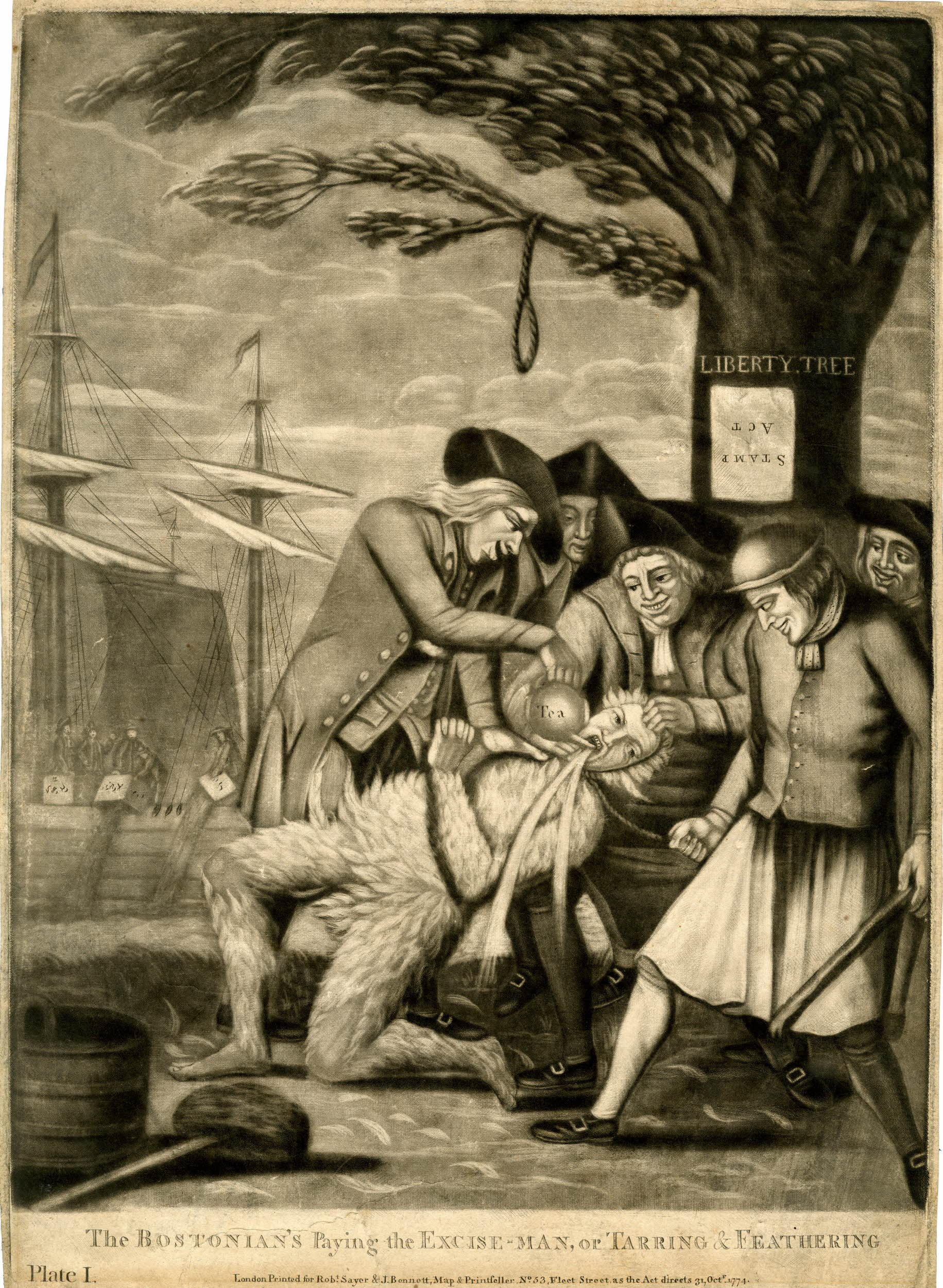 """""""The Bostonian's Paying the Excise-man, or Tarring & Feathering,"""" 1774. """""""