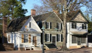 """Colonial Williamsburg - reconstruction of Holt's storehouse, sometimes referred to as John Holt's """"new store"""" on lots numbers 49 and 50 that he built in about 1745 ."""