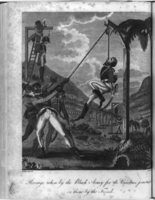 """[Haitian Revolution], """"Revenge taken by the Black Army for the cruelties practised ... by the French"""", 1805, Prints and Photographs Division, Library of Congress"""